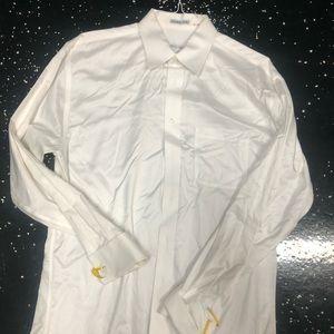 Men white button dress shirt size L. Joseph